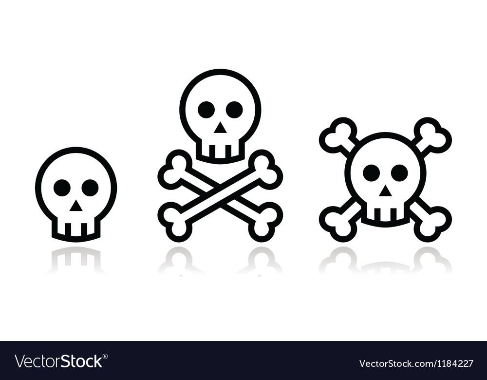 Cartoon skull with bones icon set vector