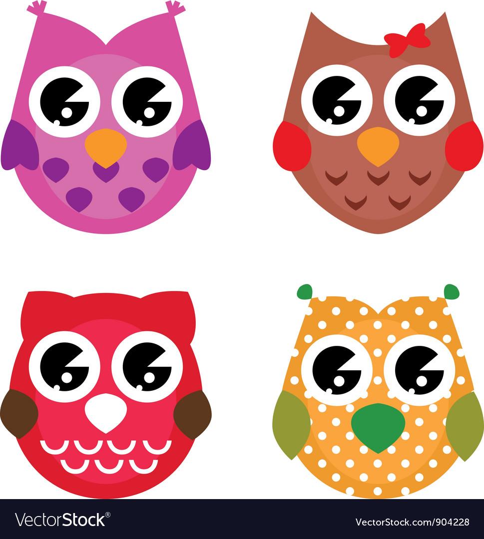 Cartoon owls set isolated on white vector