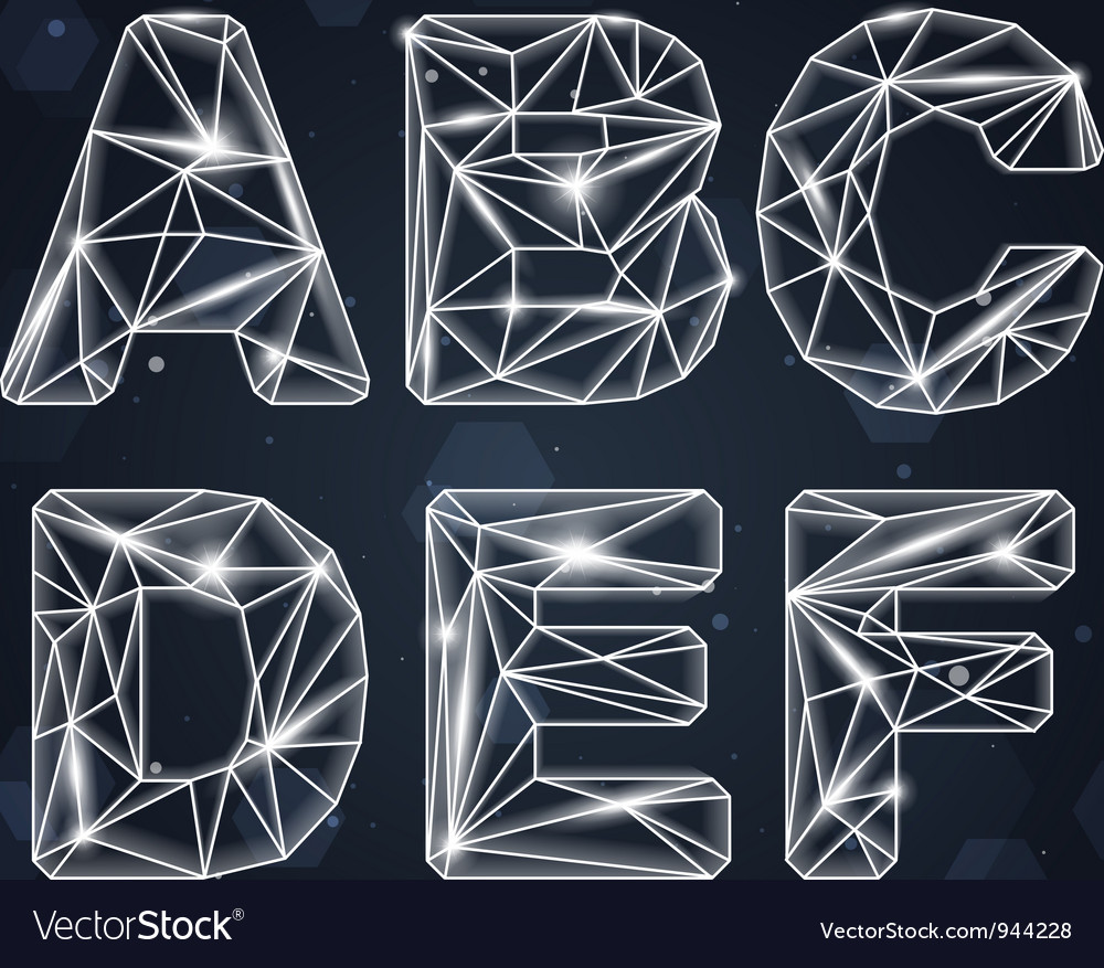 Constellation geometric font a-f vector