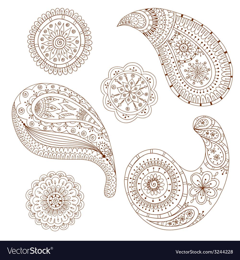 Henna paisley mehndi design element vector