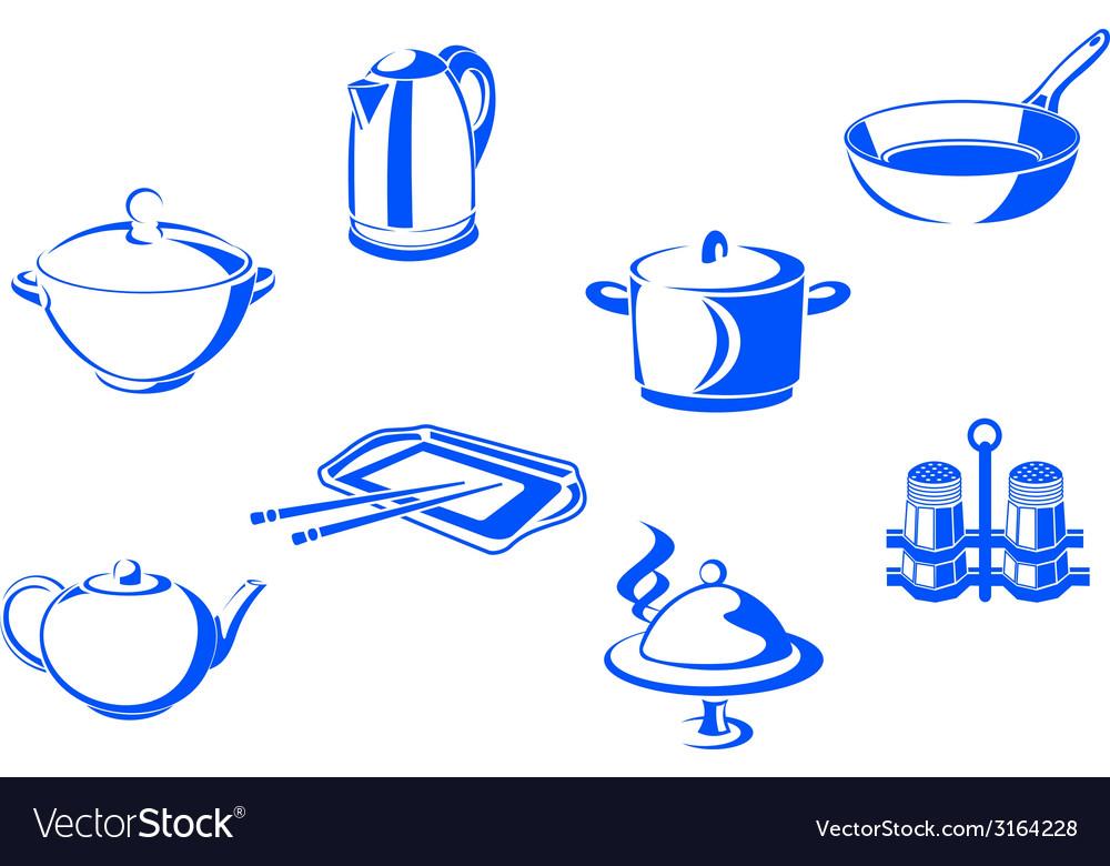 Kitchen dishware vector