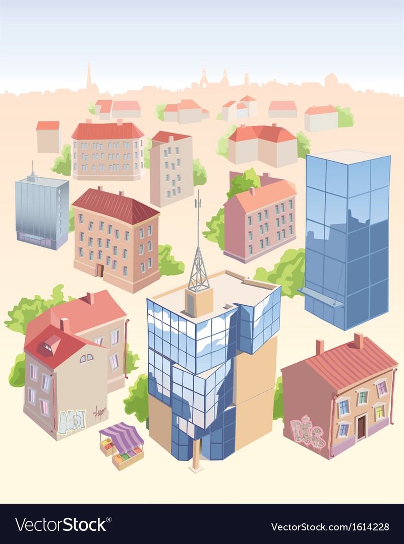 Old and new city buildings set vector