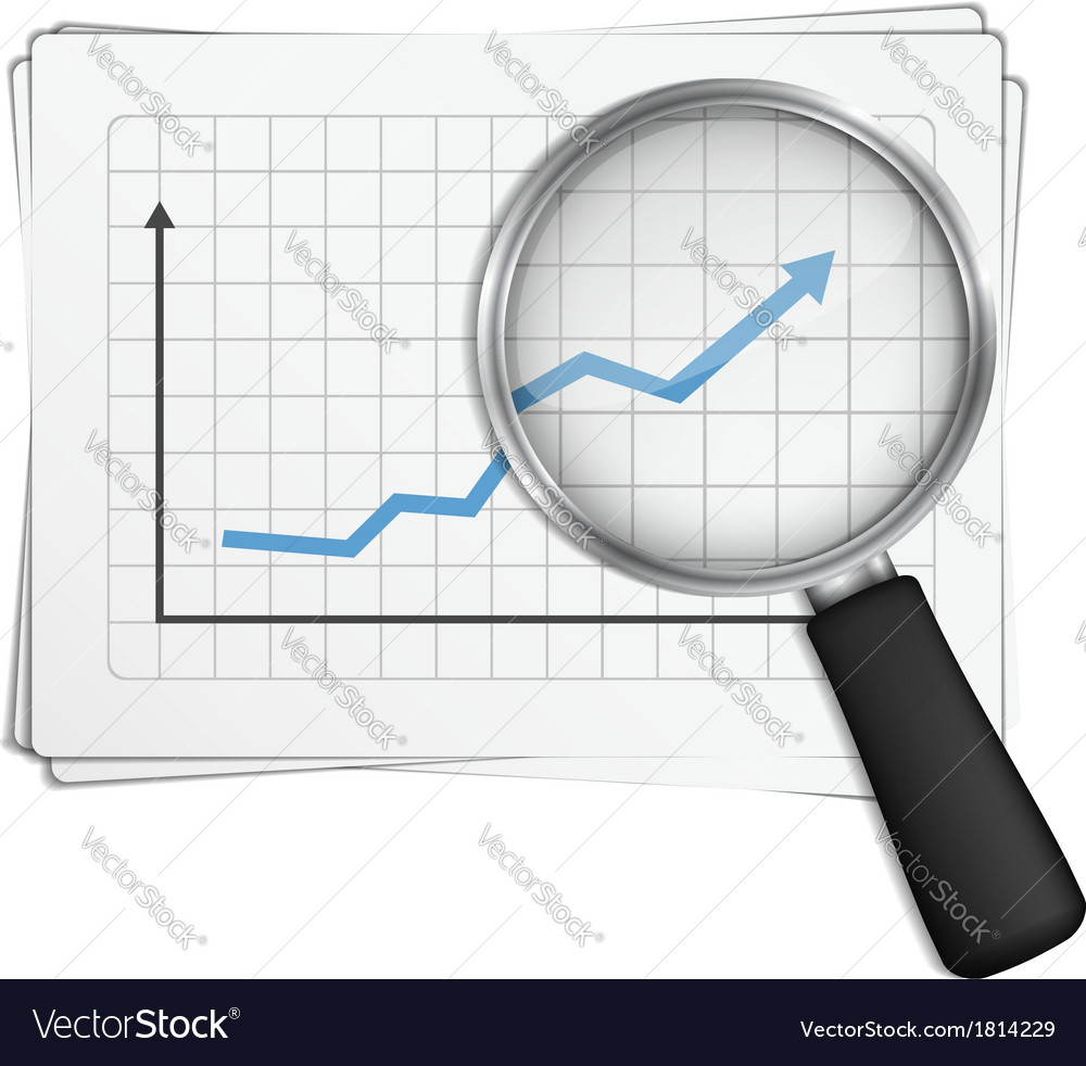 Chart and magnifying glass vector