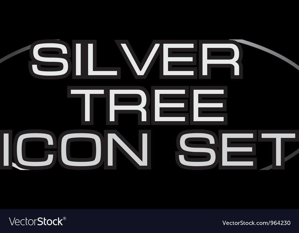 Silver tree icon set vector