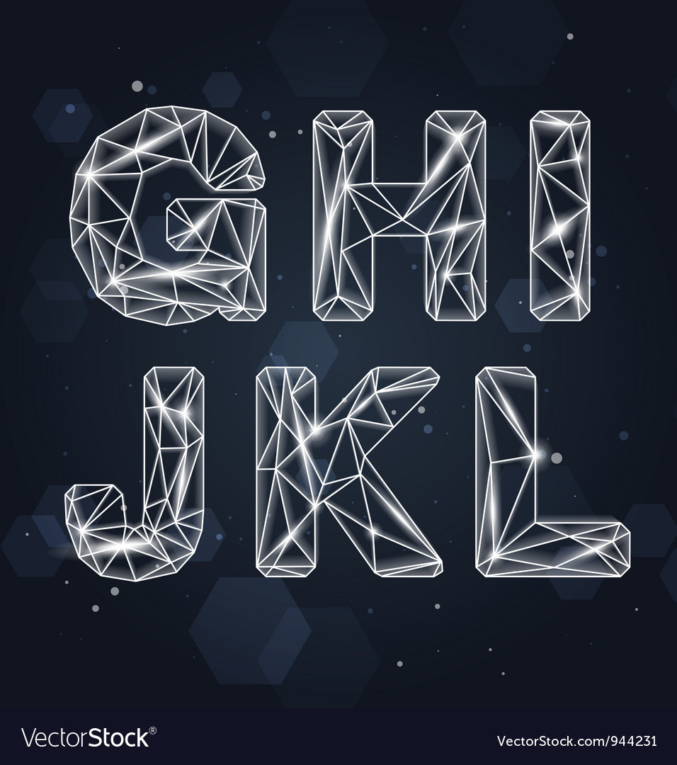 Constellation geometric font g-l vector