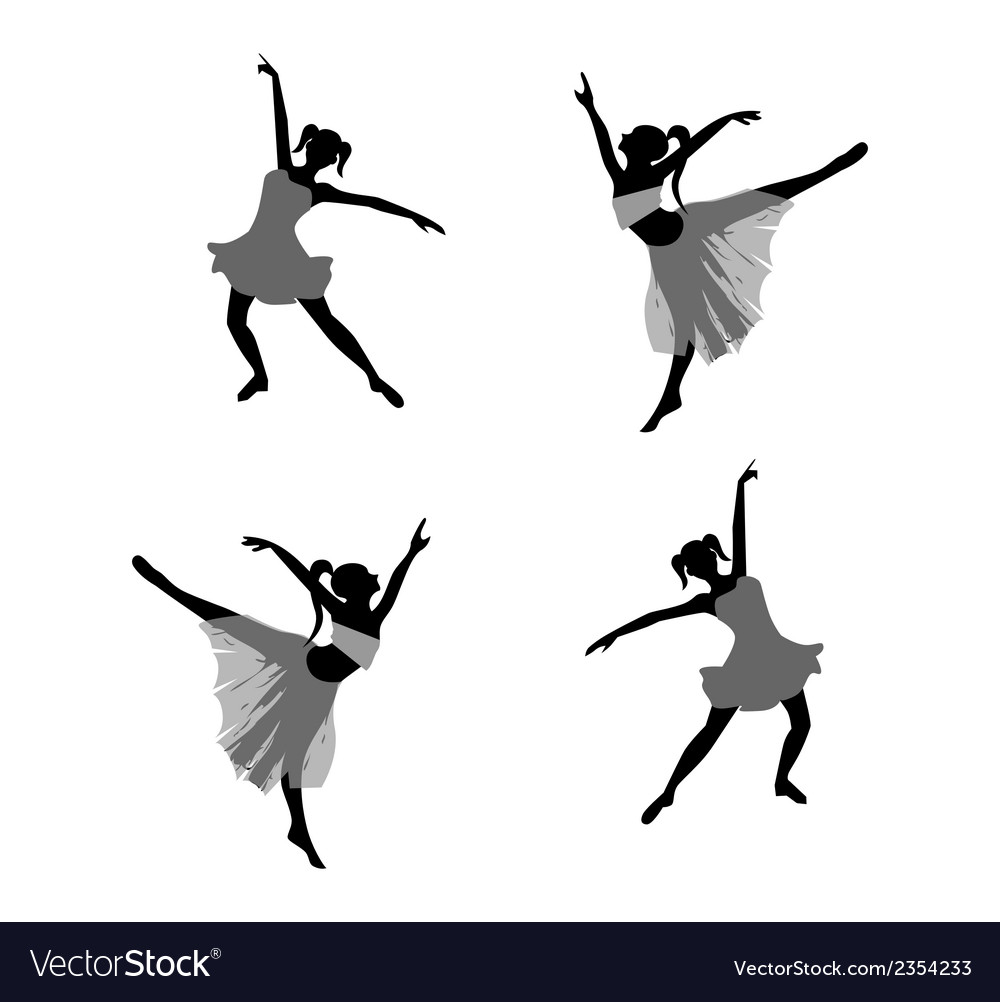 Ballet dancer girl silhouettes vector