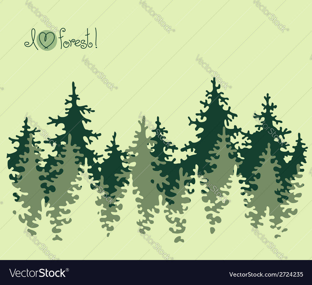 Abstract banner of coniferous forest vector