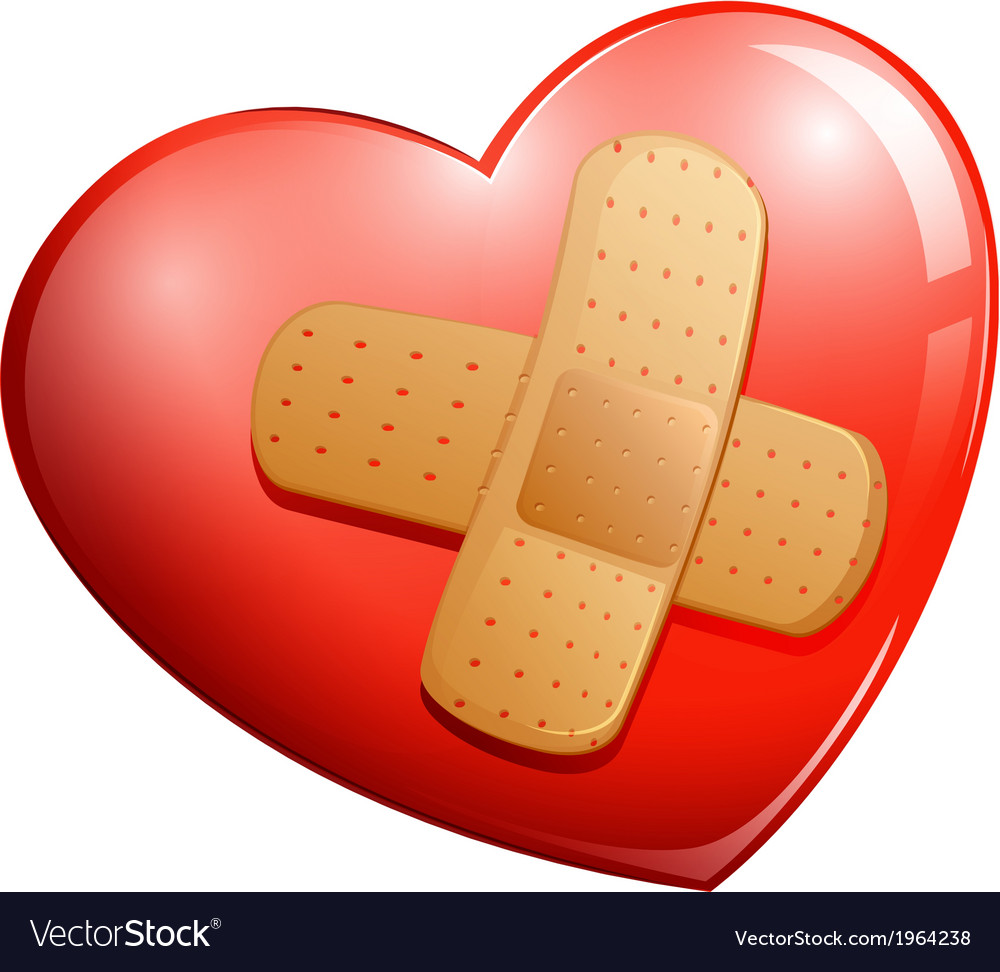 A heart with a plaster vector
