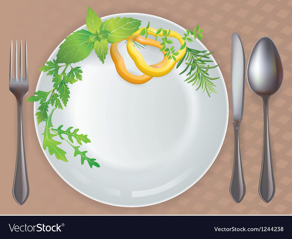 Tableware healthy food vector
