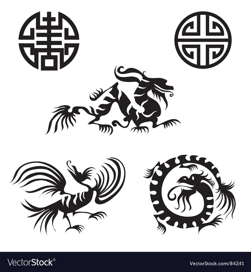 Dragon design elements vector
