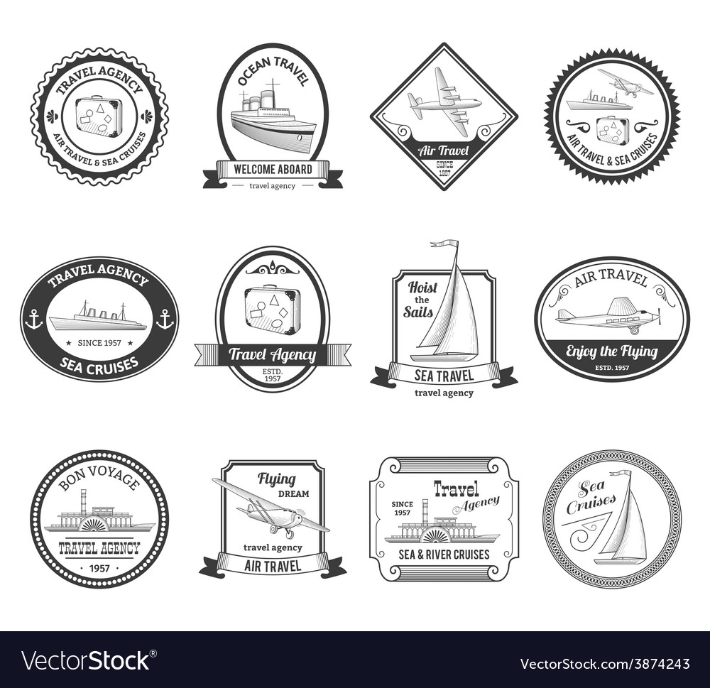 Cruise travel agency tours labels vector
