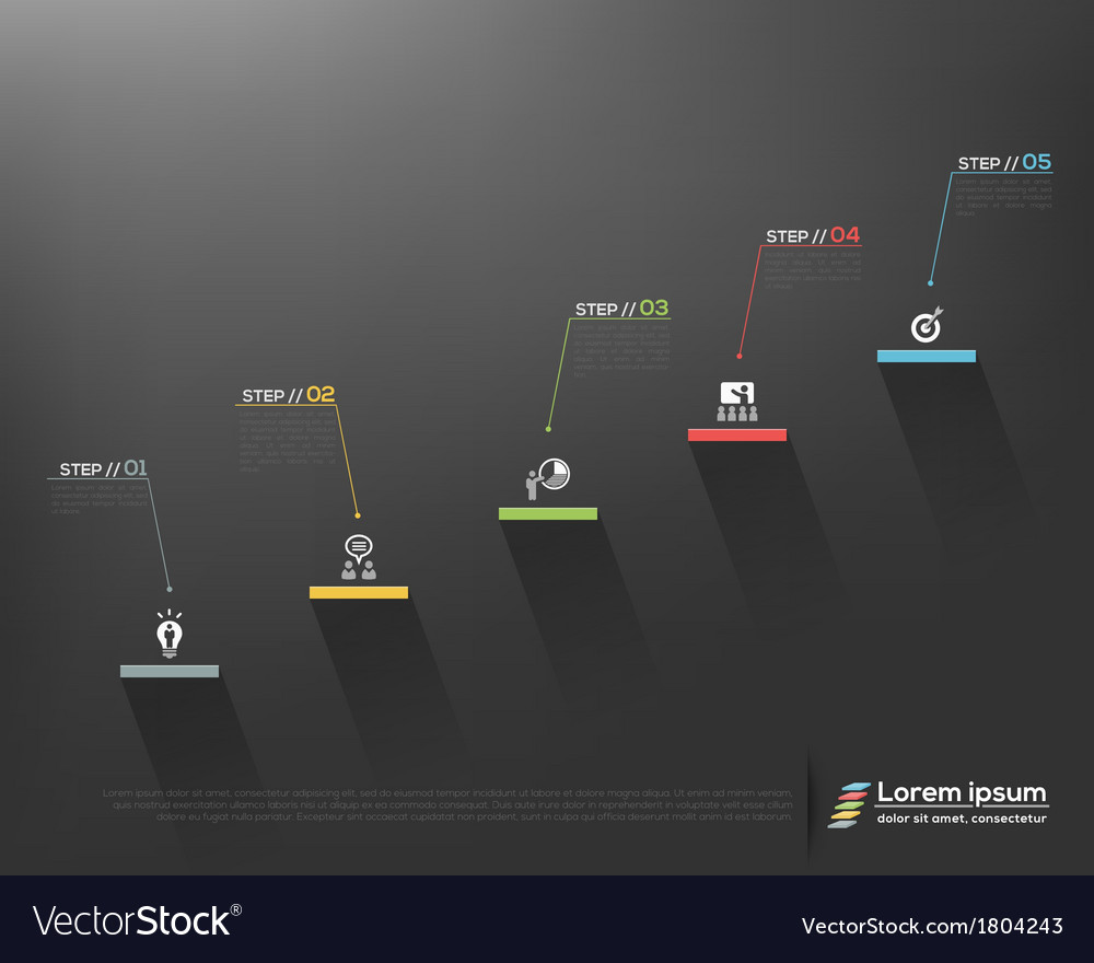 Stair steps to success design design template vector