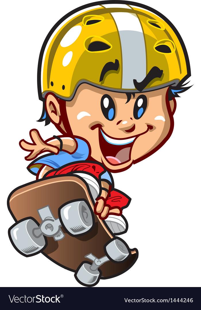 Cool little skateboard guy vector