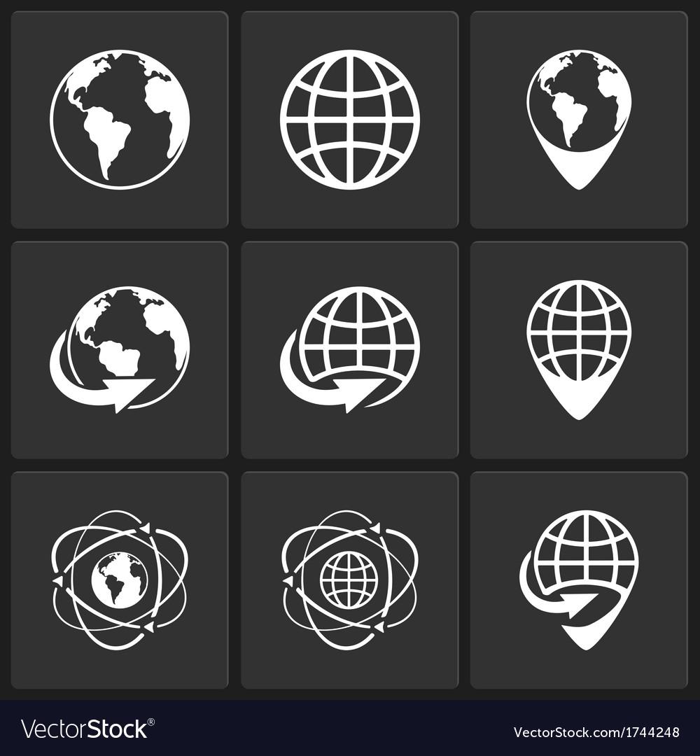 Globe earth world icons vector
