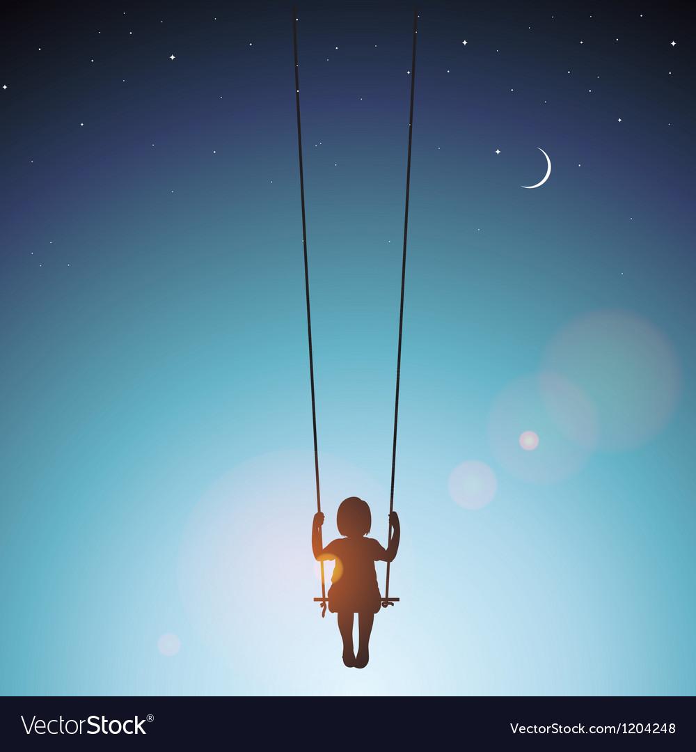 Little girl on a swing vector