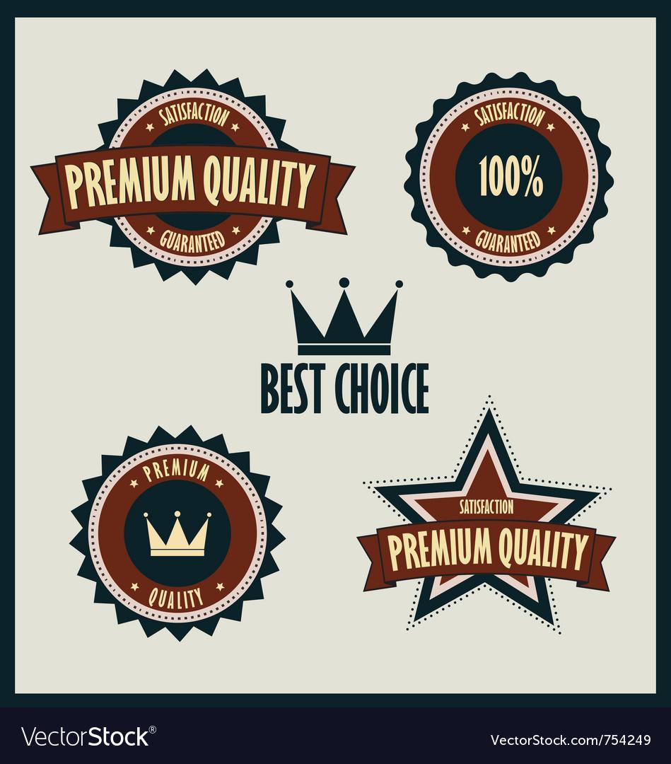 Premium quality labels best choice vector