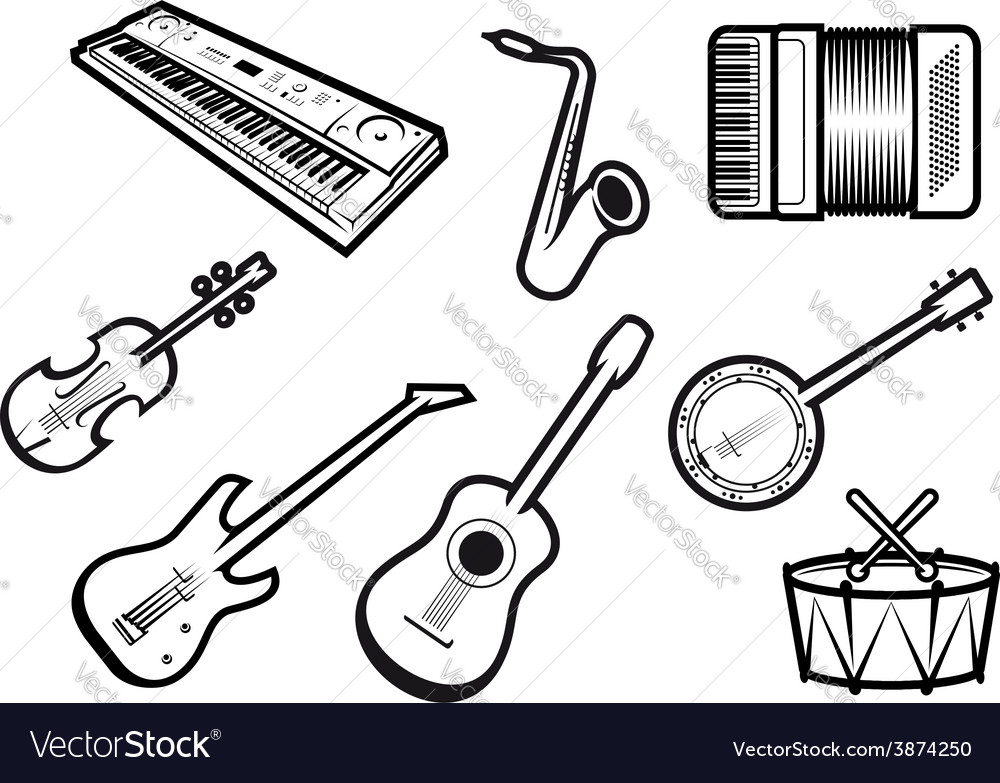 Acoustic and electric musical instruments vector