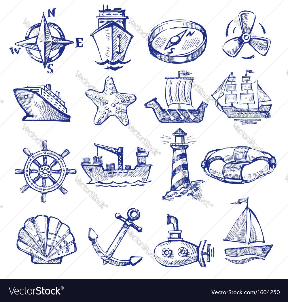 Hand drawn boat and ship vector