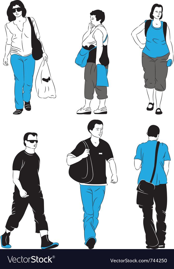 People walking vector
