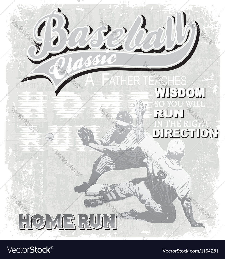 Baseball home run classic vector