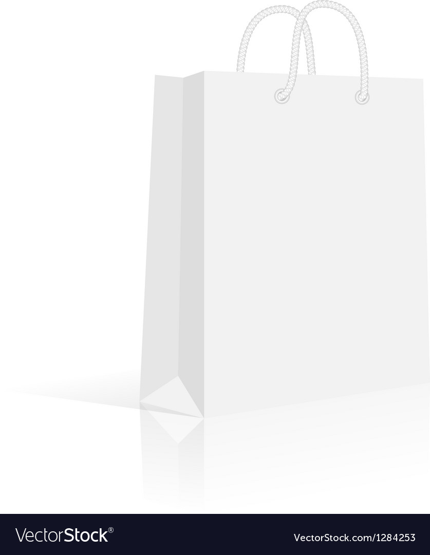 Blank paper shopping bag with rope handles vector