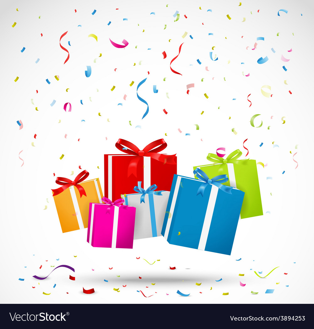 Celebration background with colorful gift box vector
