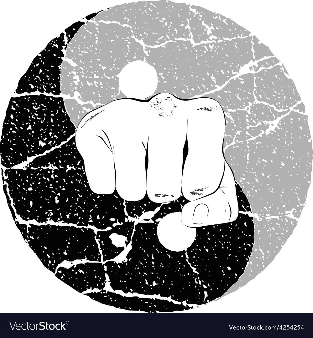 Fist yin yang vector