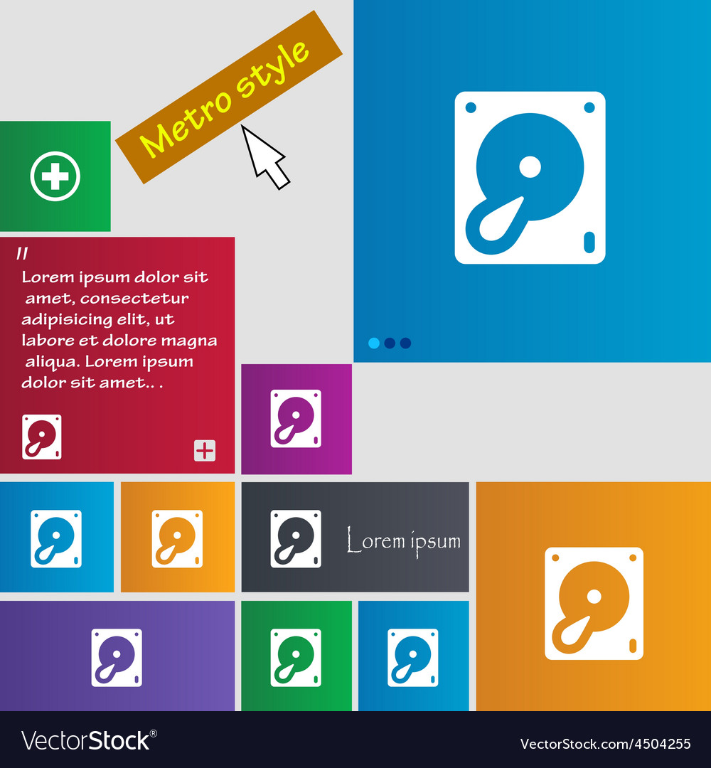 Hard disk and database icon sign metro style vector