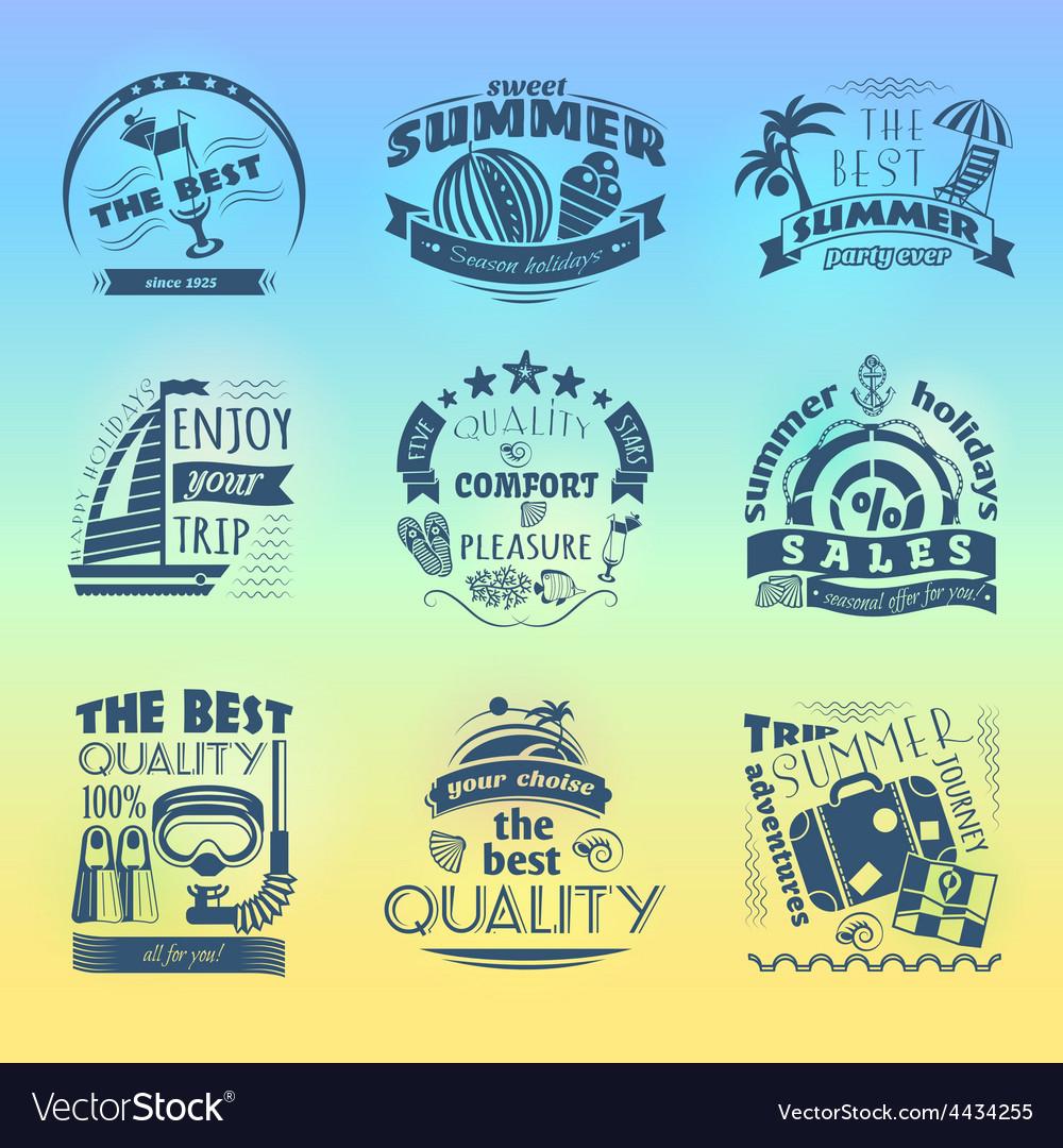 Summer holiday vacation labels set vector