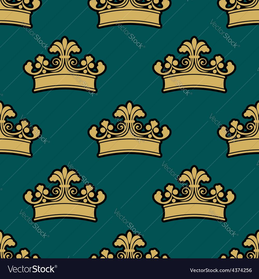 Vintage golden royal crowns seamless pattern vector