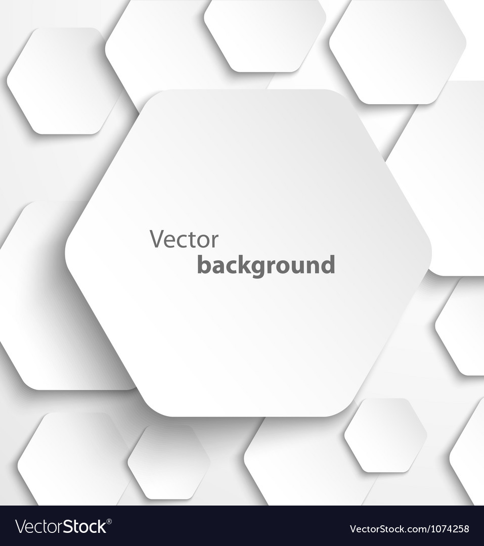 Paper hexagon banner with drop shadows vector