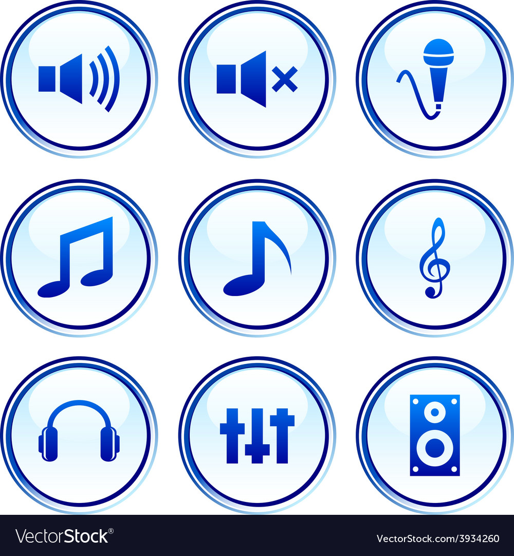 Audio buttons vector