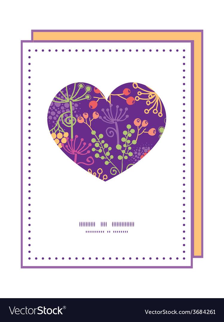 Colorful garden plants heart symbol frame pattern vector