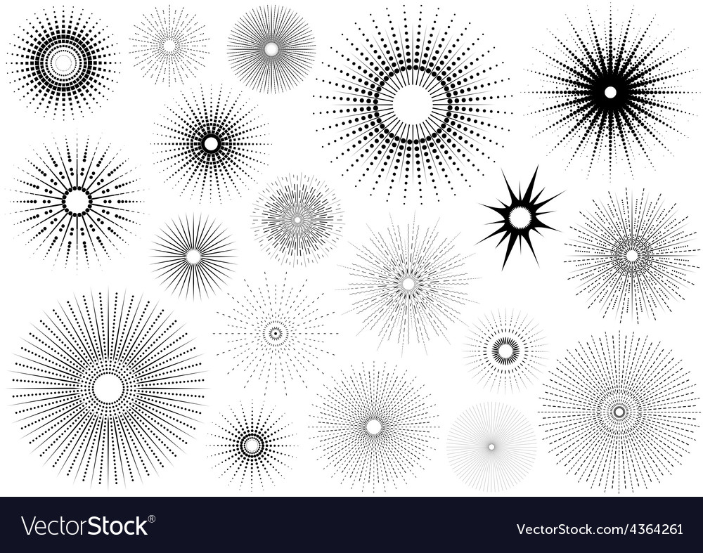 Sunburst set vector