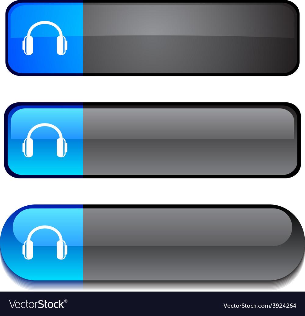 Headphones button set vector