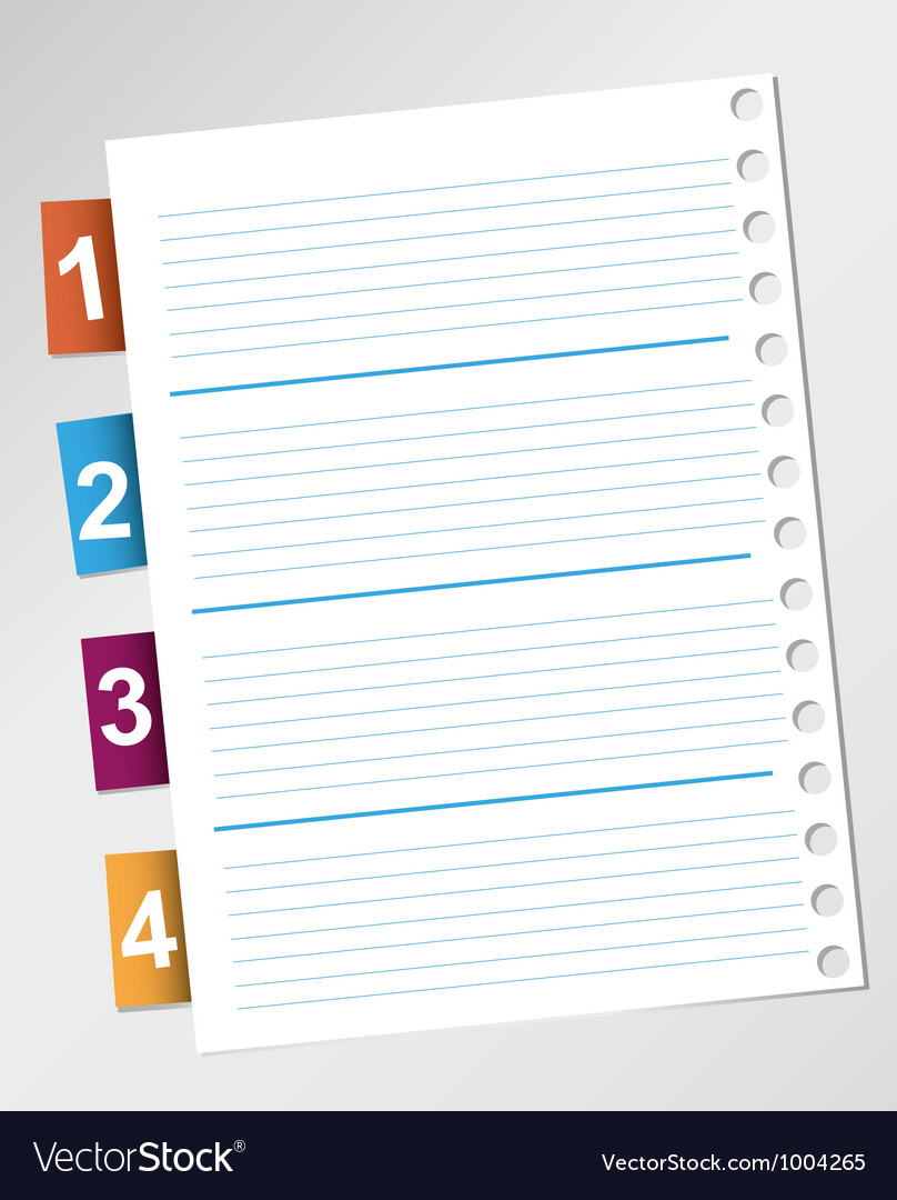 Paper and reminder note with numbers vector