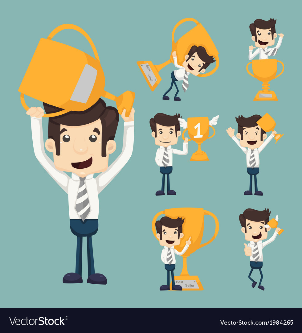 Set of businessman with a golden cup vector