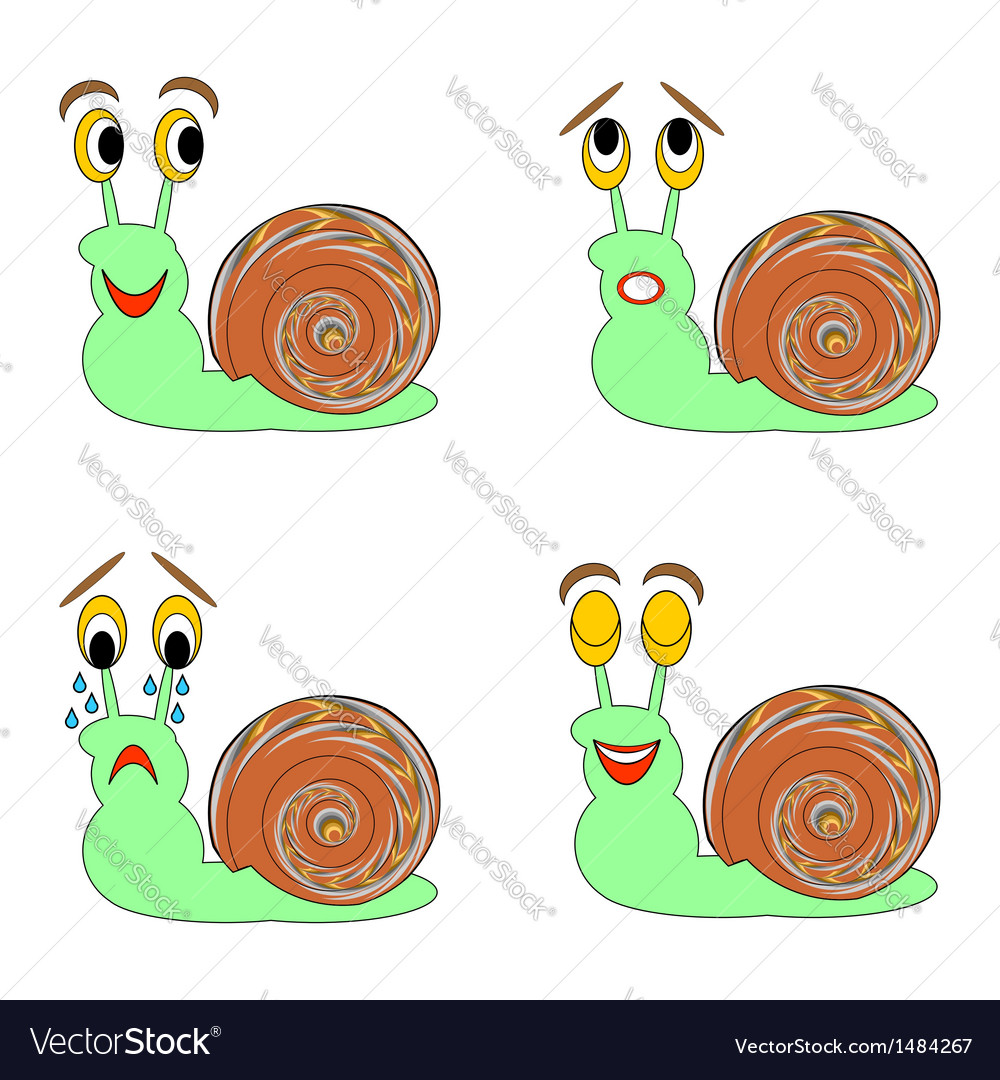 A funny snail expressing different emotions vector