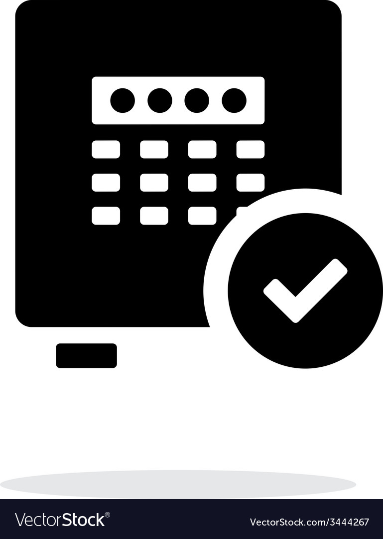 Strongbox check icon on white background vector
