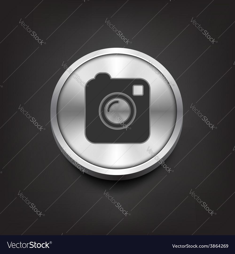 Camera simple icon on silver button vector
