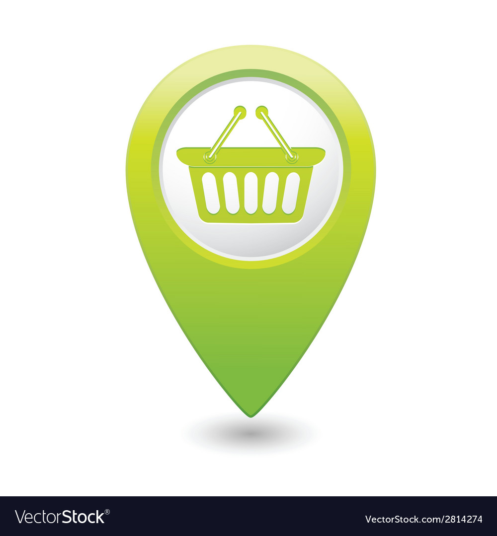 Basket icon green map pointer vector
