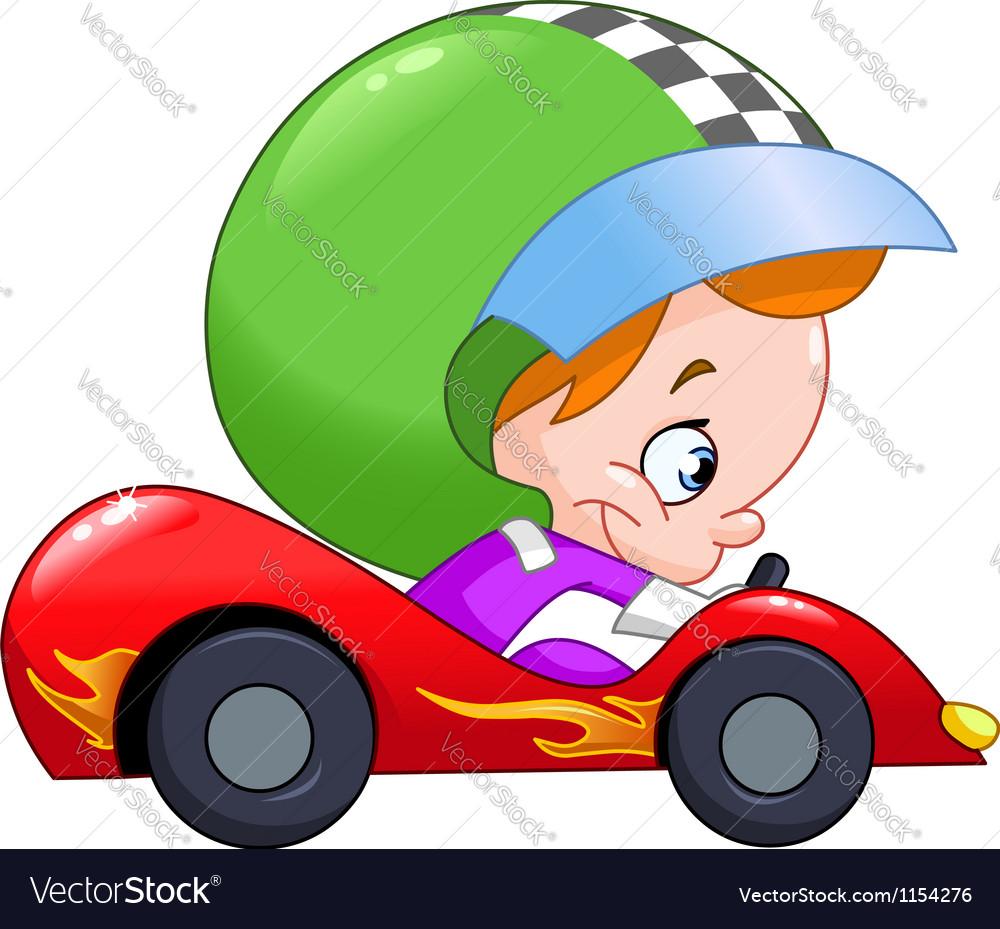 Kid race car driver vector
