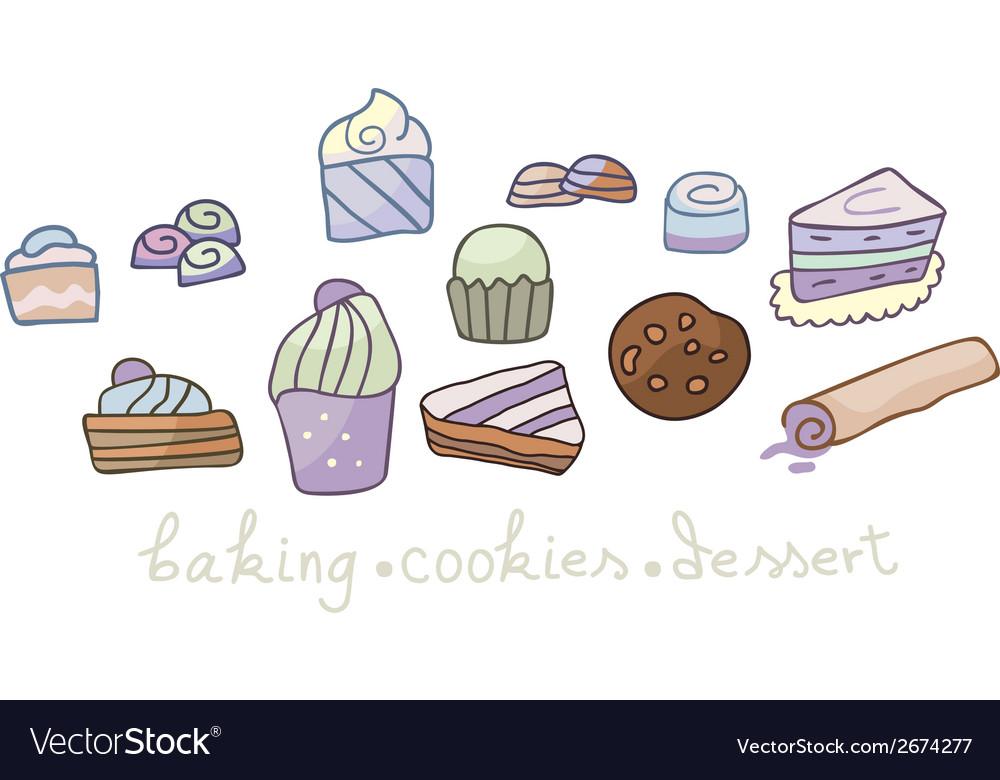 Dessert set vector