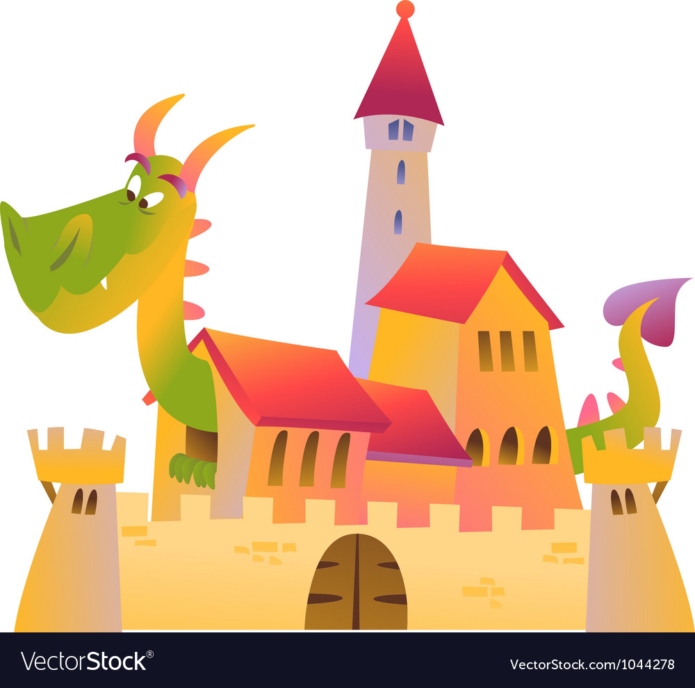 Cartoon dragon and castle vector