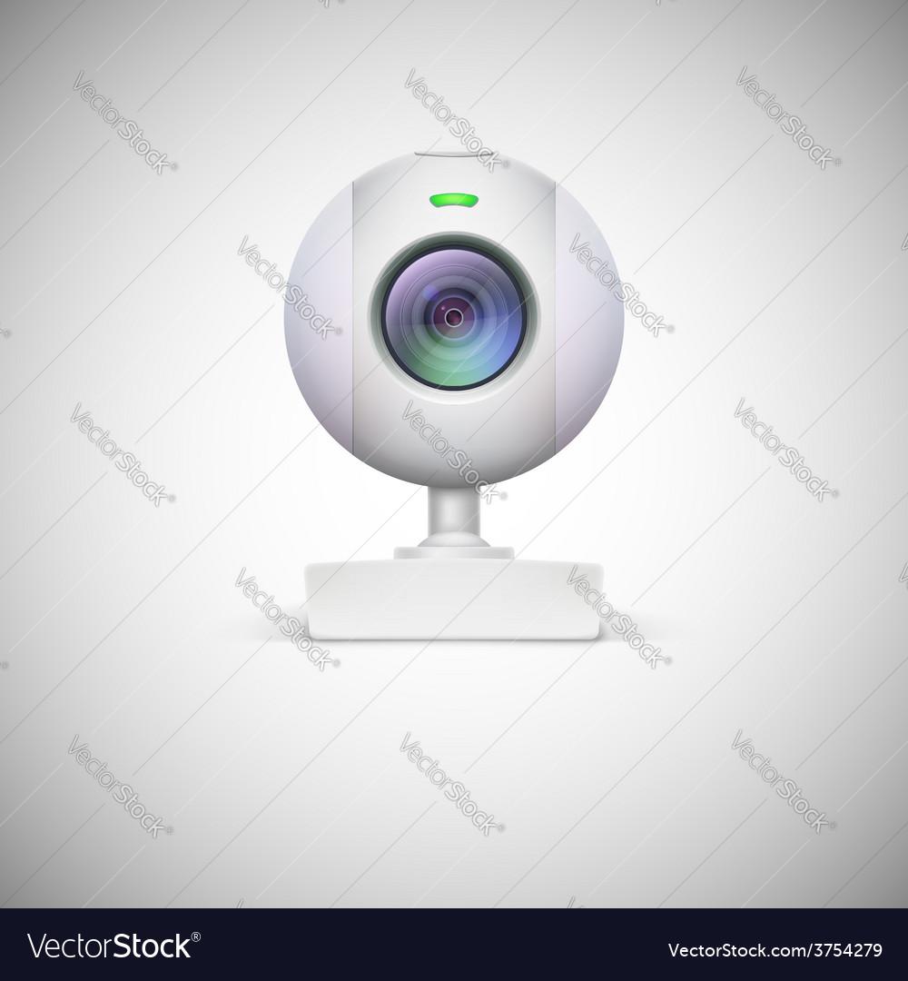Realistic white webcam icon vector