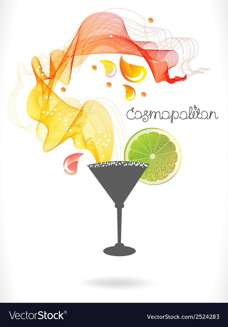 Abstract color cocktail with wave and drops vector