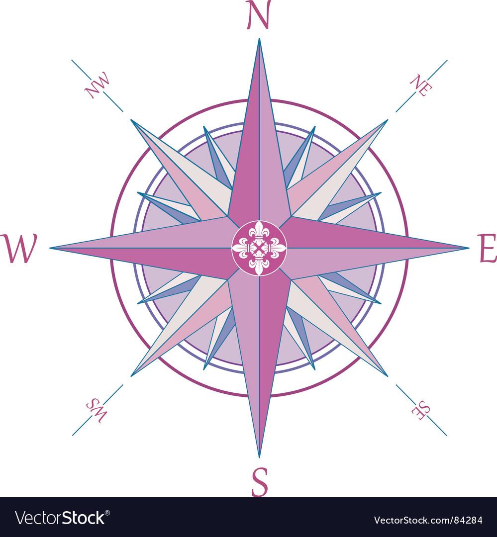Compass with fleur-de-lis vector