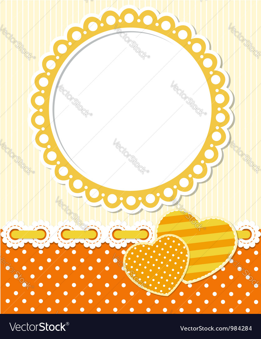 Retro style romantic scrapbook frame vector