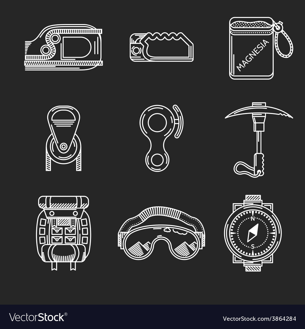 White line icons for mountaineering outfit vector