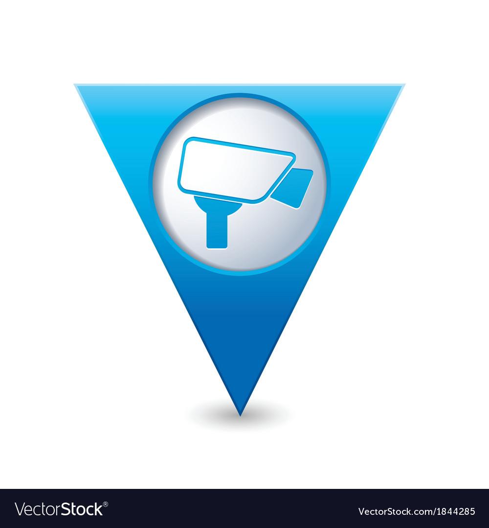 Camera icon map pointer blue vector